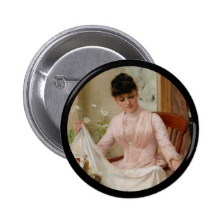 Lady Folding the Laundry 2 Inch Round Button
