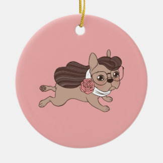 Lady Frenchie is going out for a walk Ceramic Ornament