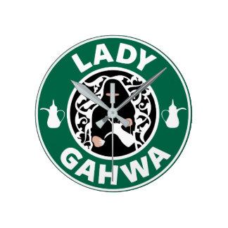 Lady Gahwa Wall Clock