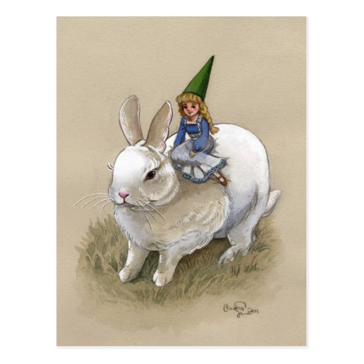 Lady Gnome and Rabbit Post Card