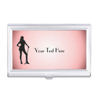 Lady Golf Personalized Business Card Case