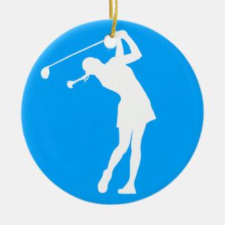 Lady Golfer Silhouette Ornament Blue