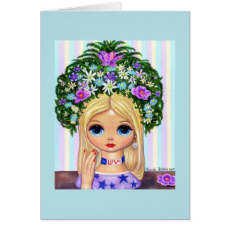Lady Head Vase Love 1960s Blythe Flower Child Card