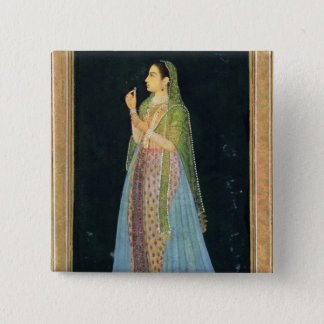 Lady holding a blossom, from the Small Clive Album 15 Cm Square Badge