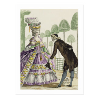 Lady in a Lilac Dress Promenades in the Gardens of Postcard