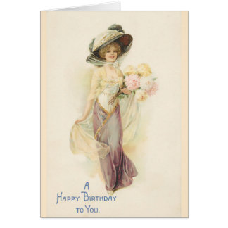 Lady in Beige and Brown Greeting Card