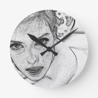 Lady in Black and White Wallclock