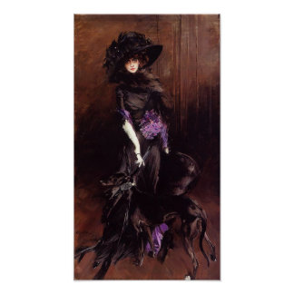 Lady in Black with a Greyhound Poster