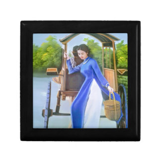 Lady in blue gift box