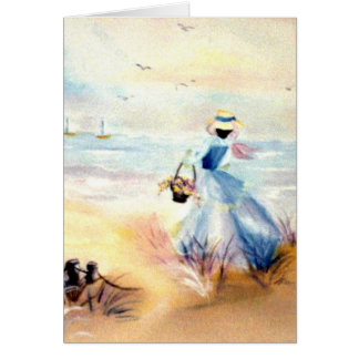 Lady in Blue on Beach Painting Card