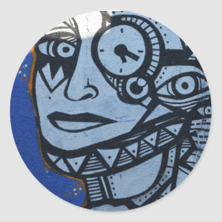 Lady in blue round sticker