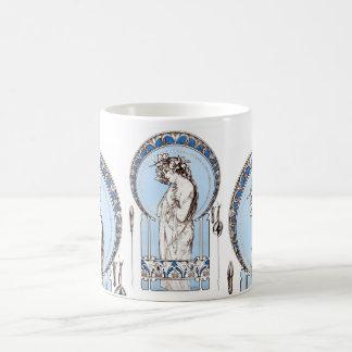 Lady in Blue vintage Mucha mug