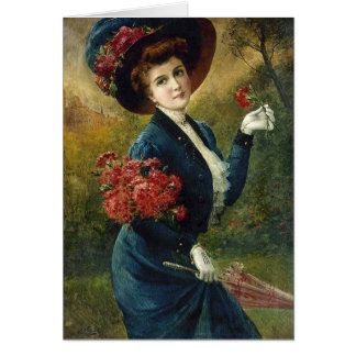 Lady in Blue with Red Flowers, Card