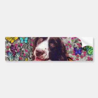 Lady in Butterflies  - Brittany Spaniel Dog Bumper Sticker
