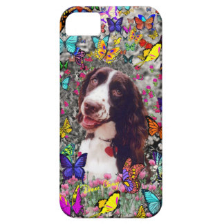 Lady in Butterflies  - Brittany Spaniel Dog iPhone 5 Cover