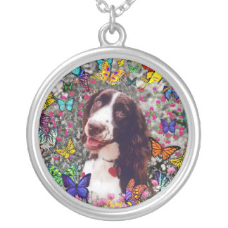 Lady in Butterflies  - Brittany Spaniel Dog Custom Necklace