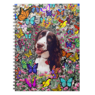 Lady in Butterflies  - Brittany Spaniel Dog Notebooks