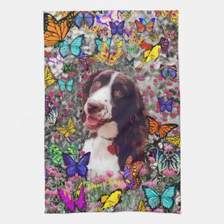 Lady in Butterflies  - Brittany Spaniel Dog Hand Towel