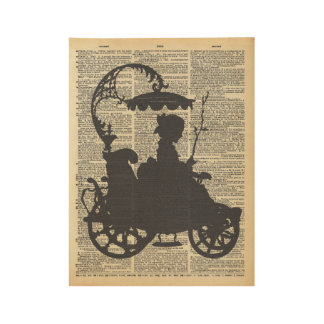 Lady in Carriage Silhouette on Old Dictionary Page Wood Poster