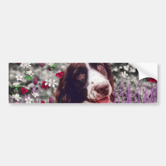 Lady in Flowers - Brittany Spaniel Dog Bumper Stickers