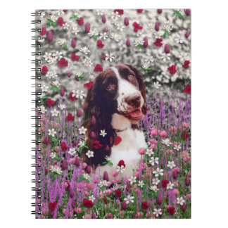 Lady in Flowers - Brittany Spaniel Dog Spiral Note Book