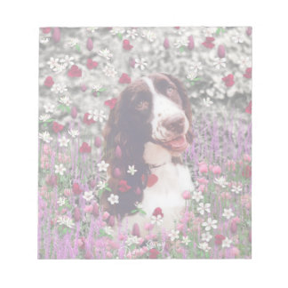 Lady in Flowers - Brittany Spaniel Dog Memo Notepad