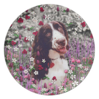 Lady in Flowers - Brittany Spaniel Dog Plate
