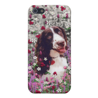 Lady in Flowers, Brittany Spaniel Puppy Dog iPhone 5 Cover