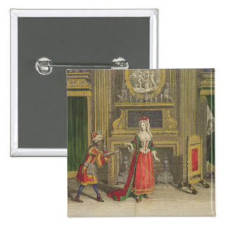 Lady in her bedroom, published c.1688-90 (coloured 15 cm square badge