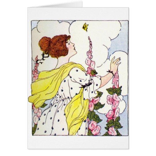 Lady in Hollyhock Garden Card