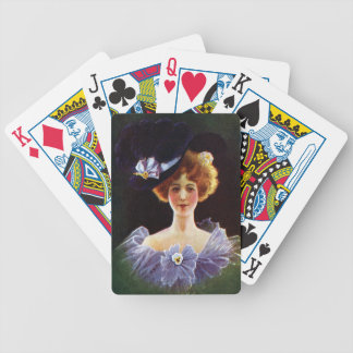 Lady in Orchid Dress with Pansy Pin Vintage Bicycle Playing Cards