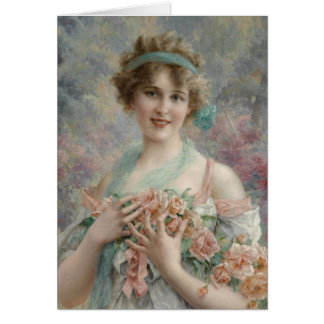 Lady in Pastel Pink and Blue, Card