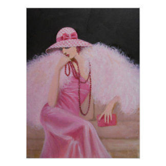 LADY IN PINK, ART DECO POSTER