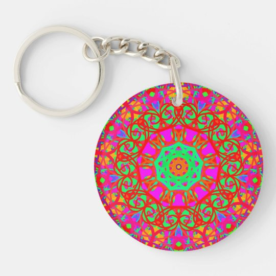 Lady in Red Double-Sided Round Acrylic Key Ring