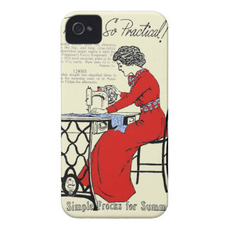 Lady in red dress at vintage sewing machine iPhone 4 case