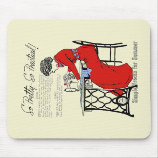 Lady in red dress at vintage sewing machine mouse pad