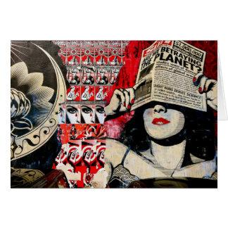 Lady in Red Lipstick Wall Graffiti Blank Card