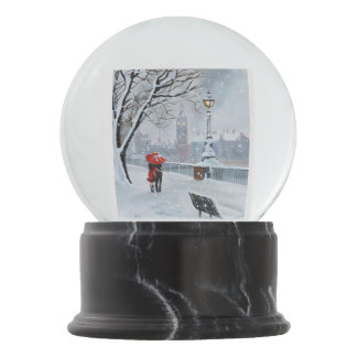 Lady in Red London Thames couple walking Snow Globe