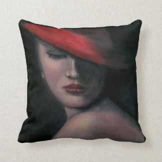 Lady in Red Pillow Throw Cushion