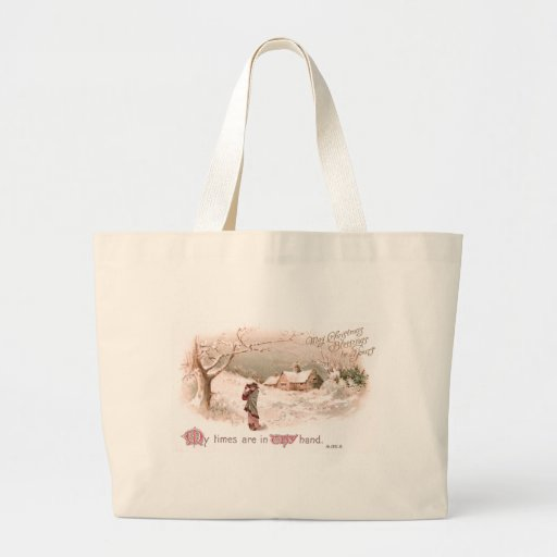 Lady in Snow in Religious Christmas Card Bag