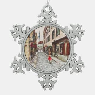 Lady in Tallinn Estonia Pewter Snowflake Decoration