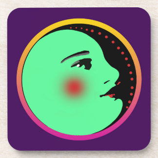 Lady in the Moon Hard Plastic Coasters
