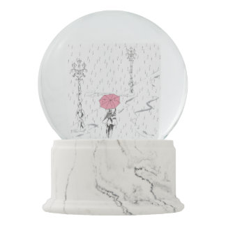 Lady in the Rain Snow Globes