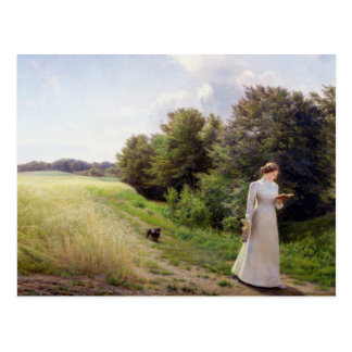Lady in White Reading Postcard