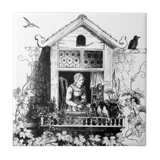 Lady in Window, Birds and Grapevine Small Square Tile