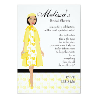 Fashion shop invitations announcements zazzle lady in yellow card stopboris Choice Image