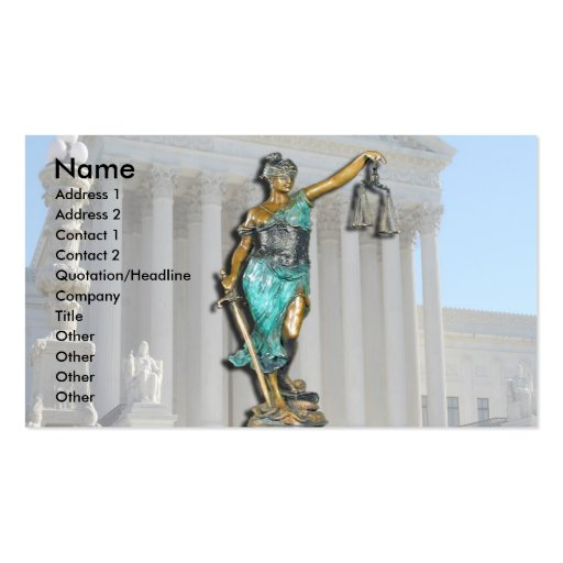 Lady Justice on Supreme Court Business Cards