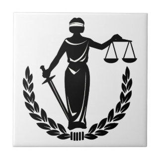 Lady Justice Small Square Tile