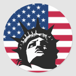 Lady Liberty and the Flag Classic Round Sticker