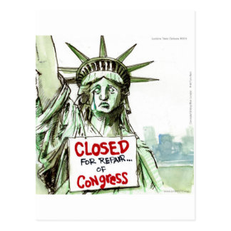 Lady Liberty Closed For Repair Of Congress Funny Postcard